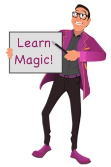 cartoon of Wonderphil holding learn magic sign